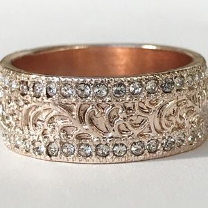 Jewelry - Rose Gold Art Deco Eternity Ring Band Size 8 Thick